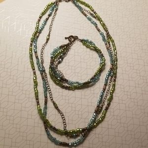 "Green & Blue Beaded 17"" Necklace & 7"" Bracelet"